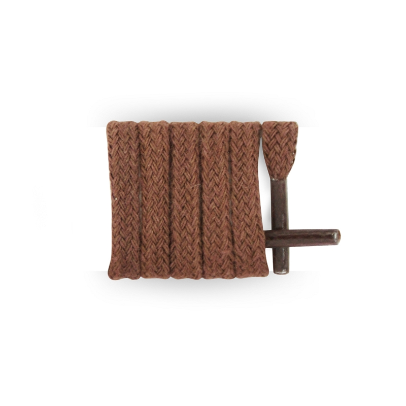 Les Lacets Fran?ais-Cordones planos, algodón, color marrón, Marrón (marrón), 40