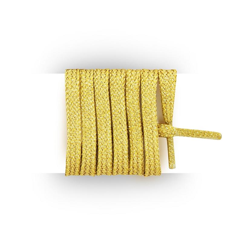 389c8ce081a60 Compra Cordones planos y finos dorado brillante 120 cm