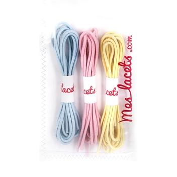 nueva llegada 64e4f c7dda Compra Cordones redondos y finos algodón azul cielo / rosa ...
