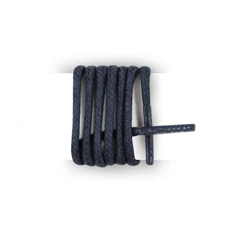 Les lacets Français- Cordones redondos de algodón encerado, color azul azul 75cm, Para 5 oeillets